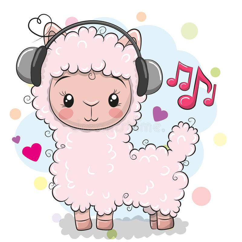 Alpaca with headphones on a white background. Cute Cartoon Alpaca with headphones on a white background vector illustration