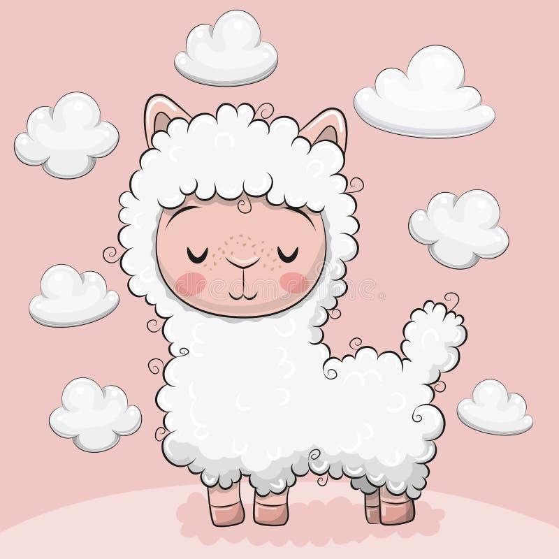 Alpaca linda con las nubes en un fondo rosado stock de ilustración
