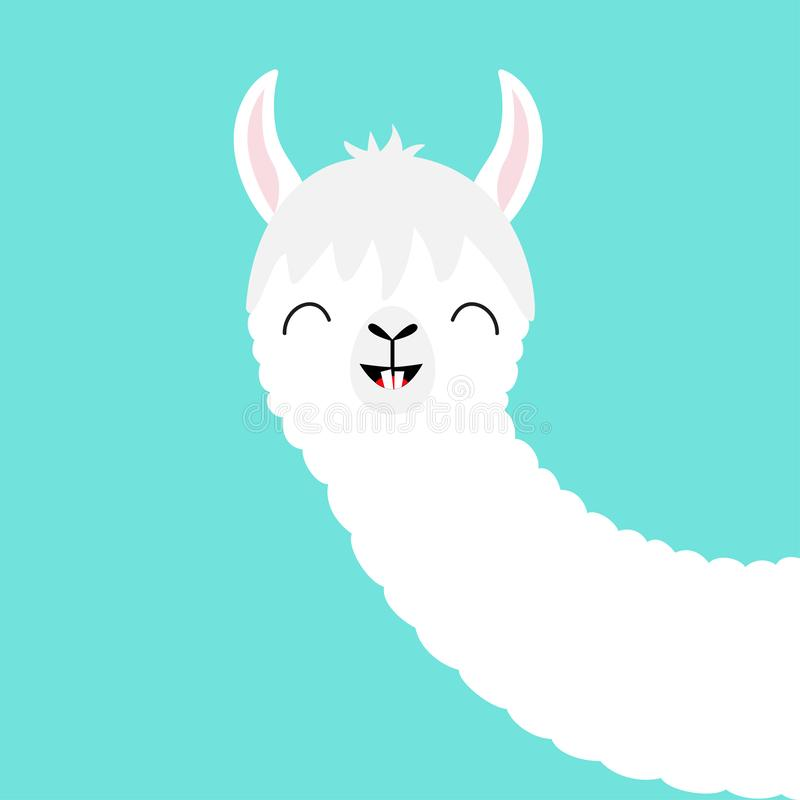Alpaca llama animal face. Cute cartoon kawaii smiling character. Funny teeth. T-shirt, greeting card, poster print. Childish baby vector illustration