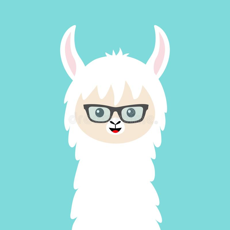 Alpaca llama animal face in sun glasses. Cute cartoon kawaii smiling funny character. T-shirt, greeting card, poster print. vector illustration