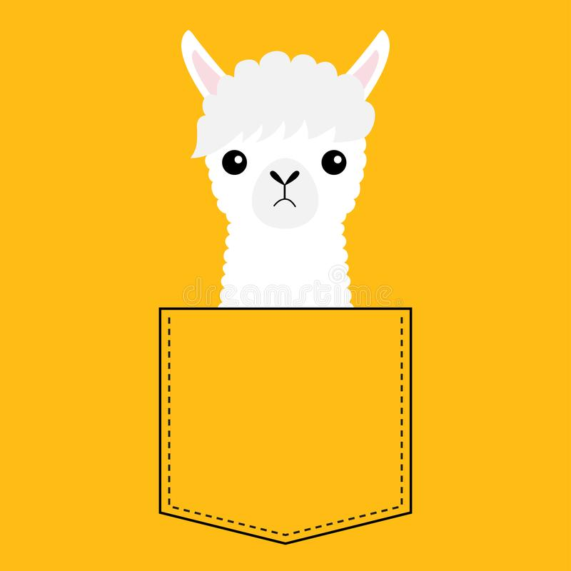 Alpaca llama face head in the pocket. Cute cartoon animals. Kawaii character. Dash line. Animal collection. White and black color stock illustration