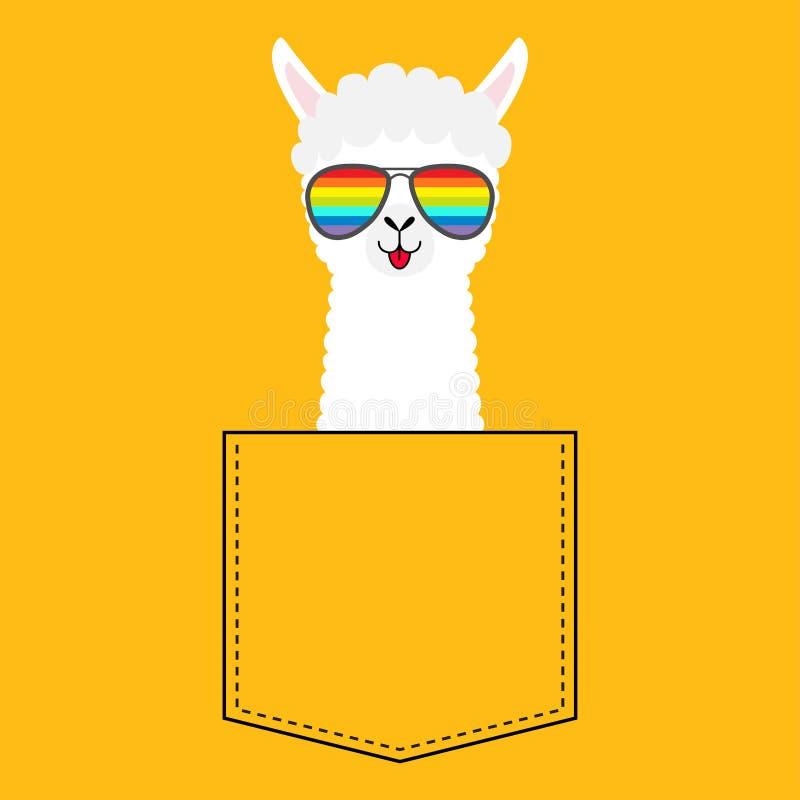 Alpaca llama face head in the pocket. Rainbow glasses. Cute cartoon animals. Kawaii character. Dash line. White and black color. T. Shirt design. Baby yellow vector illustration