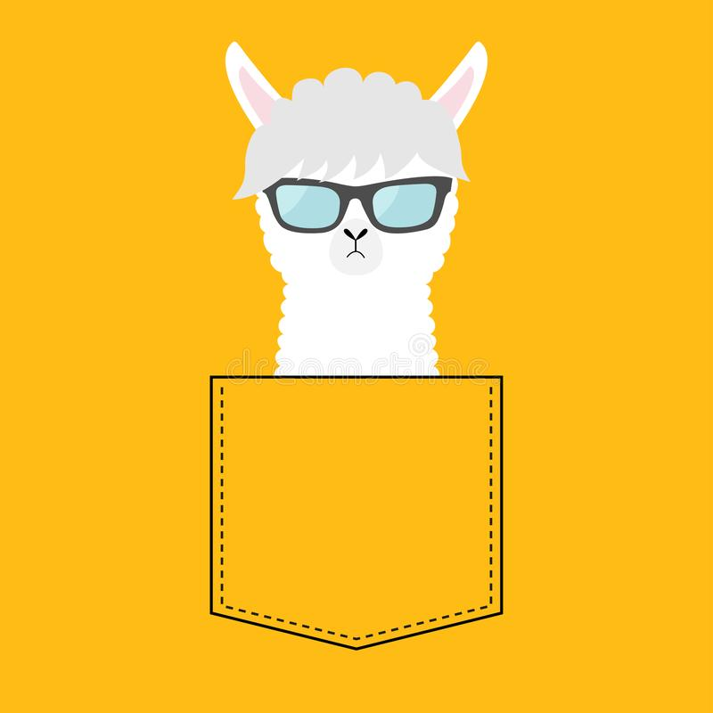 Alpaca llama face head in the pocket. Sun glasses. Cute cartoon animals. Kawaii character. Dash line. White and black color. T-. Shirt design Baby yellow vector illustration