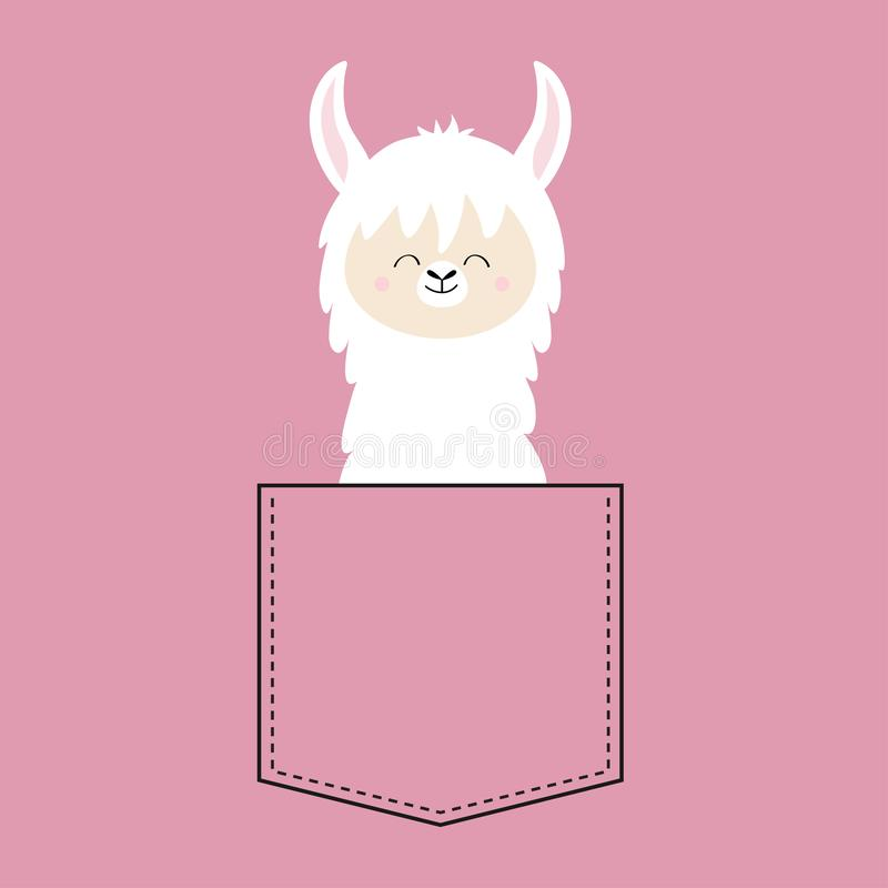 Alpaca llama face neck in the pocket. T-shirt design. Cute cartoon funny character. Kawaii animal. Love Greeting card. Flat design. Style. Pink background royalty free illustration