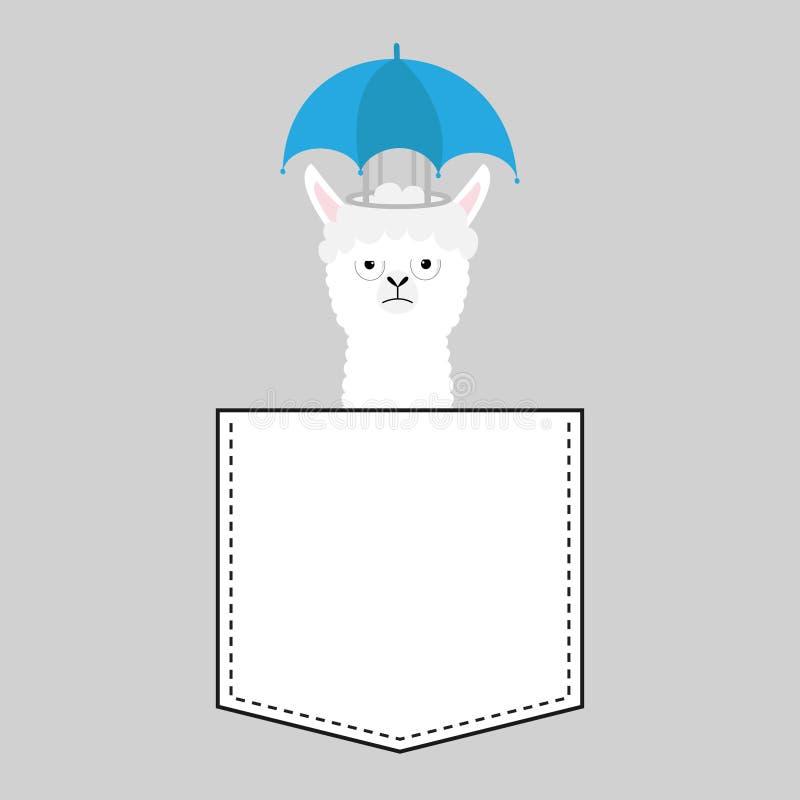 Alpaca llama sitting in the pocket. Face with umbrella. T-shirt design. Cute cartoon funny character. Kawaii animal. Love Greeting royalty free illustration