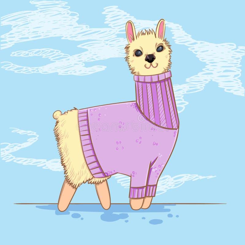 Alpaca o lama linda en un suéter en fondo azul Animales del campo Personaje de dibujos animados del Kiddie ilustración del vector