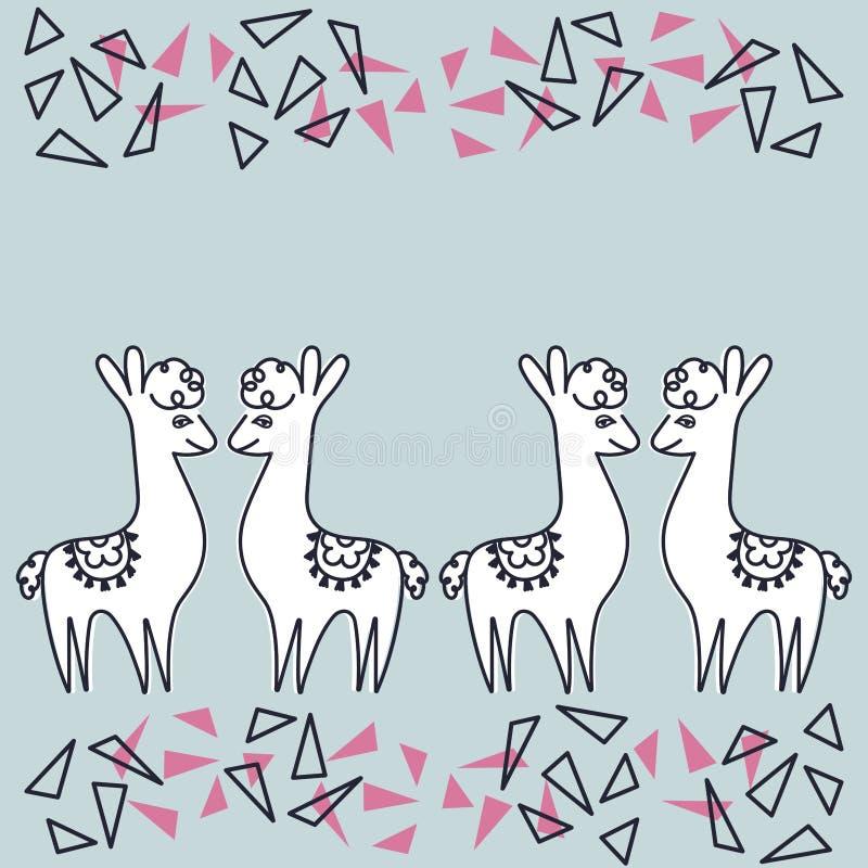 Alpaca o llamas en el fondo azul, mano que dibuja elementos abstractos ilustración del vector