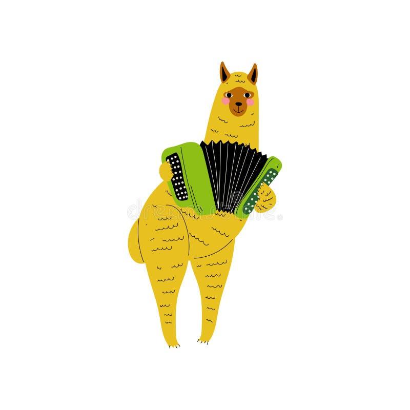 Alpaca que joga o acordeão, ilustração animal do vetor do instrumento de Character Playing Musical do músico dos desenhos animado ilustração do vetor