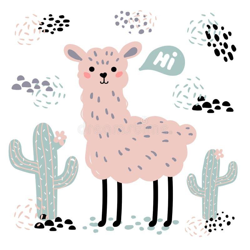 Alpaca rosada del lama de la historieta, cactus y hola texto libre illustration