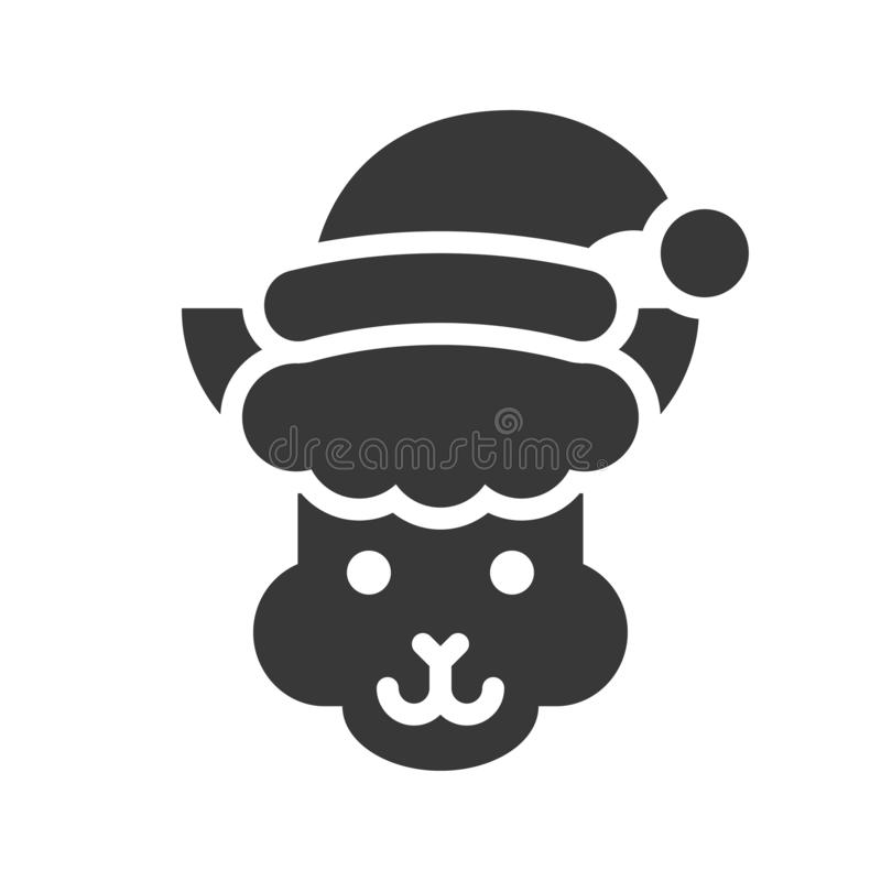 Alpaca wearing santa hat silhouette icon design. Alpaca wearing santa hat, silhouette icon design vector illustration