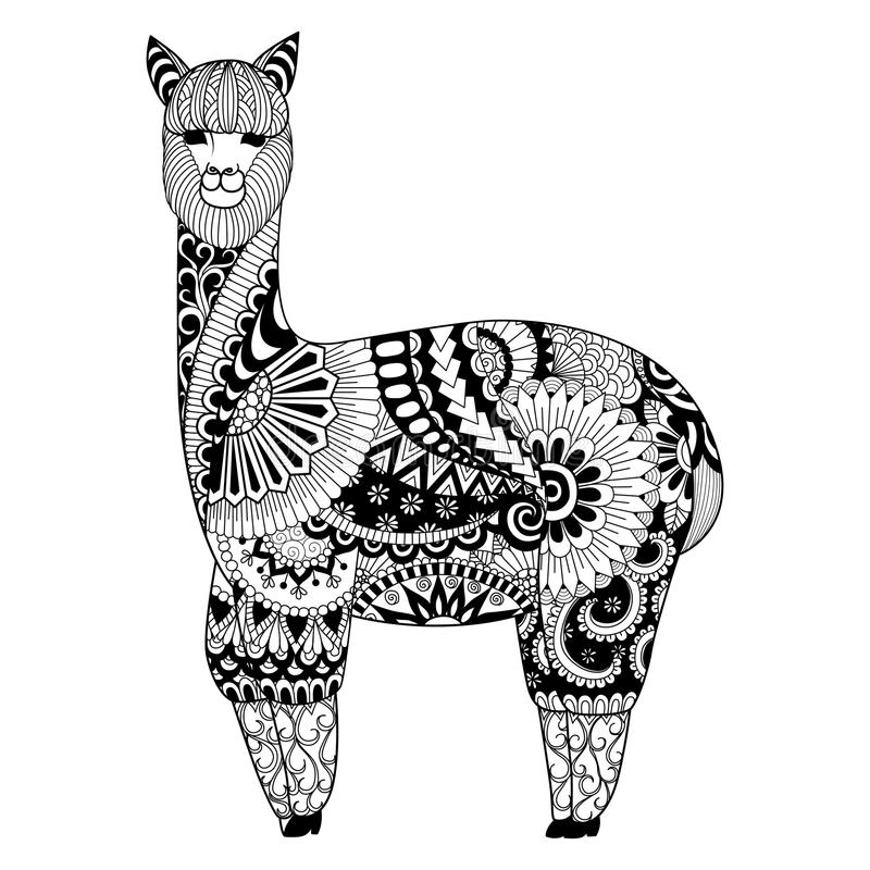 Download Alpaca Zentangle Design For Coloring Book Adult Logo T Shirt And