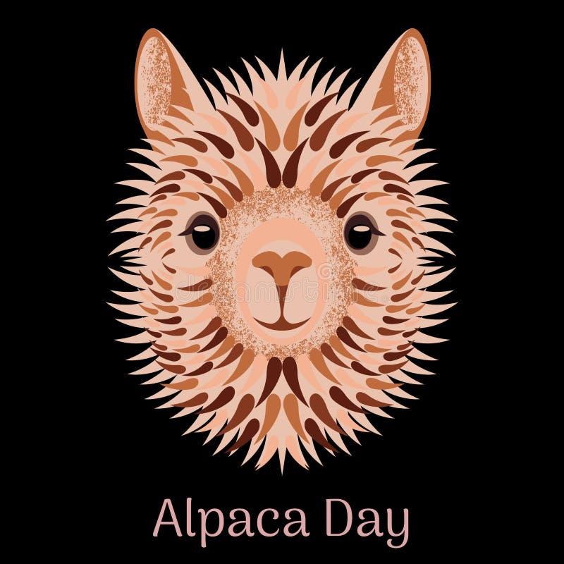Alpacadag Nationell ferie i Peru Blont huvud, framsidaalpaca vektor illustrationer