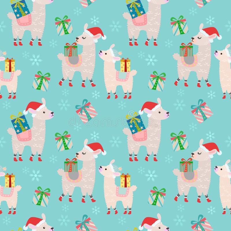 Alpacas with gift seamless pattern. royalty free illustration