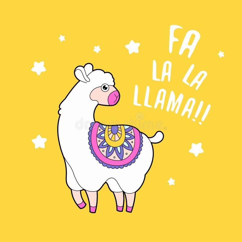 Alpaga pelucheux mignon de lama Carte animale drôle d'impression Copie drôle de citation illustration de vecteur