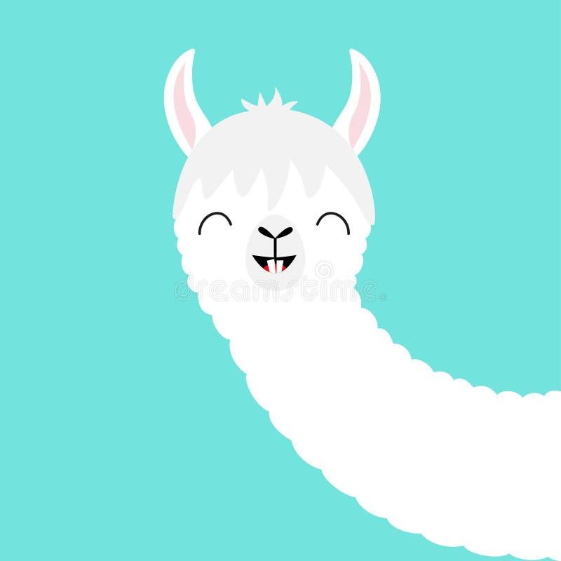 Alpagowej lamy zwierzęca twarz Ślicznego kreskówki kawaii uśmiechnięty charakter śmieszni zęby Koszulka, kartka z pozdrowieniami, ilustracja wektor