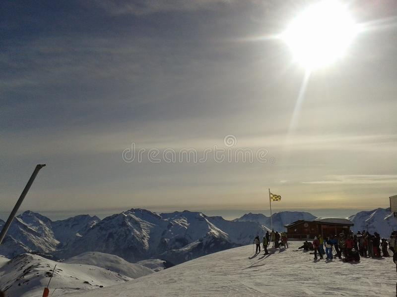 Alpe d'huezsolnedgång arkivbilder
