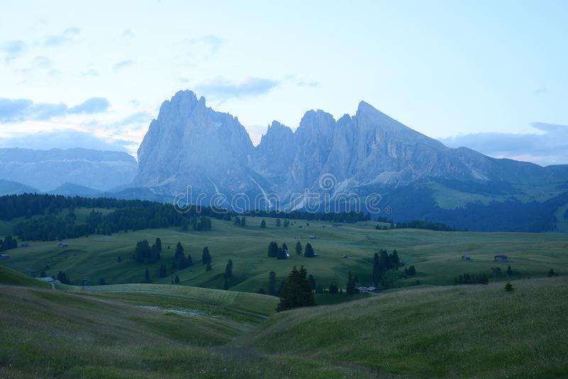 Alpe di Siusi. Italy Dolomite mountain called Alpe di Siusi, dolomites, landscape, seiser, alm, meadow, alps, alpine, beautiful, nature, tyrol, dolomiti, sky royalty free stock image