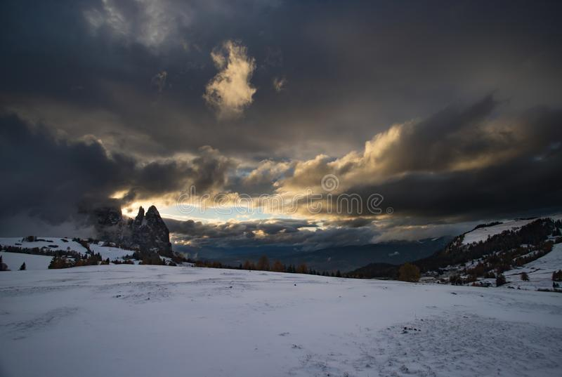 Alpe di Siusi in winter, Dolomite, Italy. Beautful snowy mountains in Alpe di Siusi, Dolomite mountains - winter holidays destination stock photo