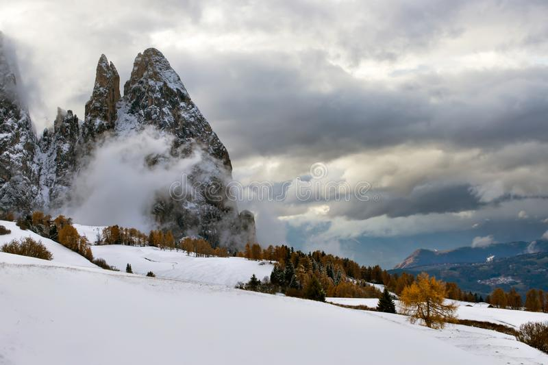 Alpe di Siusi in winter, Dolomite, Italy. Beautful snowy mountains in Alpe di Siusi, Dolomite mountains - winter holidays destination stock photos