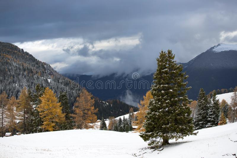 Alpe di Siusi in winter, Dolomite, Italy. Beautful snowy mountains in Alpe di Siusi, Dolomite mountains - winter holidays destination royalty free stock photos