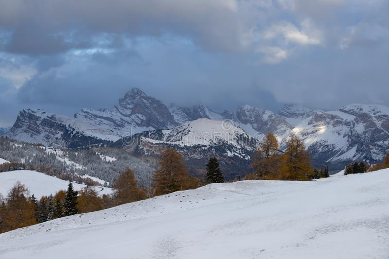 Alpe di Siusi in winter, Dolomite, Italy. Beautful snowy mountains in Alpe di Siusi, Dolomite mountains - winter holidays destination stock images