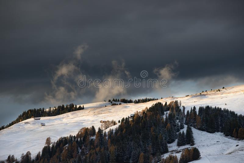 Alpe di Siusi in winter, Dolomite, Italy. Beautful snowy mountains in Alpe di Siusi, Dolomite mountains - winter holidays destination stock photography