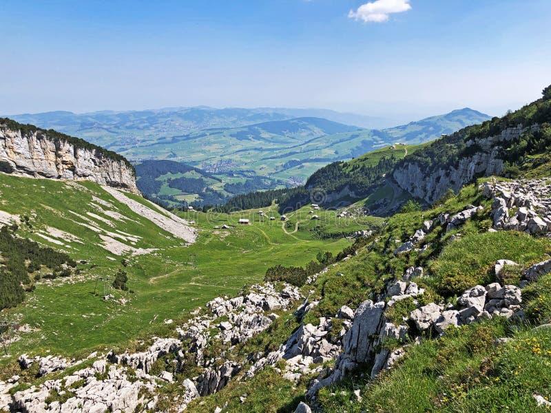 Alpejscy pa?niki i ??ki w Apenzellerland regionie i w Schwendebach dekatyzuj? dolin? zdjęcia royalty free