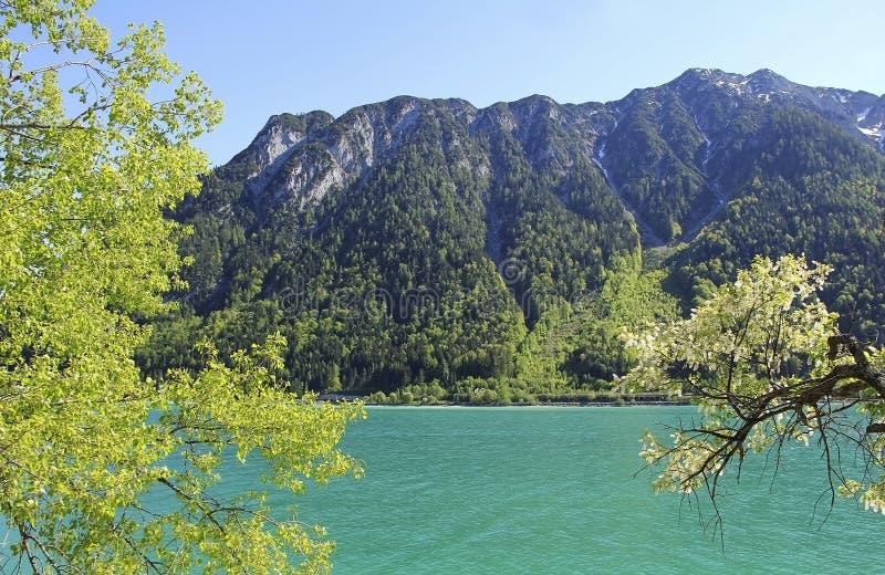 Alpejski jeziorny achensee z turkus wodą obraz stock