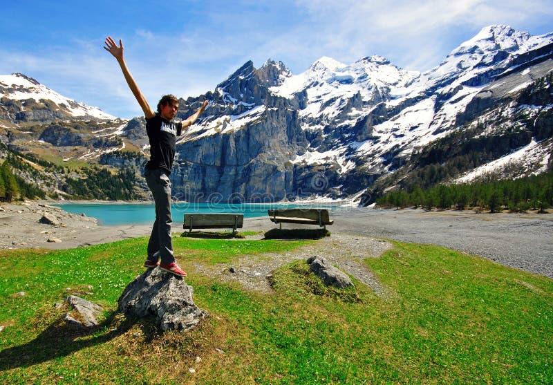 Alpejski Jeziorny Oeshinensee Fotografia Royalty Free