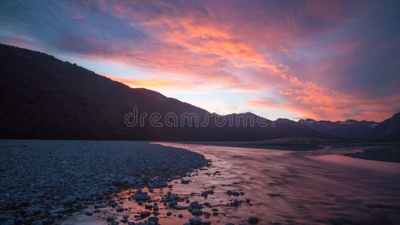 Alpejski zmierzch w Nowa Zelandia obrazy stock