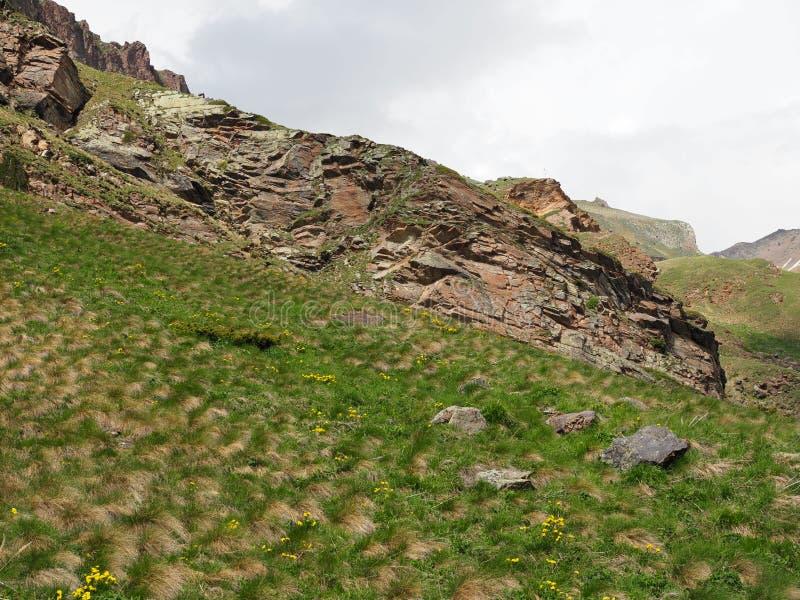 Alpejskie łąki w Kaukaz lecie niebieskie niebo bia?e chmury zdjęcie royalty free