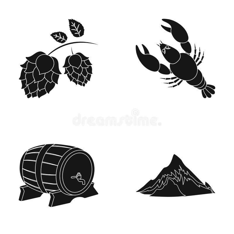 Alpen, ein Fass Bier, Hummer, Hopfen Oktoberfestset-Sammlungsikonen in der schwarzen Art vector Illustration des Symbols auf Lage lizenzfreie abbildung