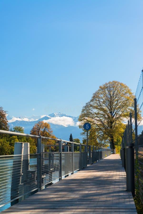 Alpen en Thun-meer dichtbij Spiez stock afbeeldingen