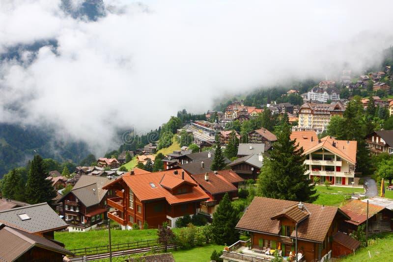 Alpen Stadt, Lauterbrunnen, die Schweiz stockfotografie