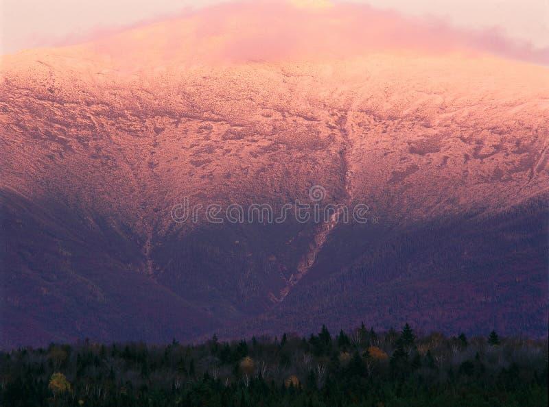 Alpenglow op Onderstel Washington, Wit Berg Nationaal Bos, New Hampshire stock fotografie