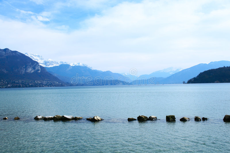 The Alpes. View of the alpes at Annecy, France stock images