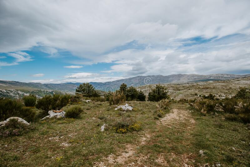 Alpes Maritimes landscape, hiking from the village of Courmes, summer time mountain view. Alpes Maritimes landscape, hiking from the village of Courmes, France royalty free stock images