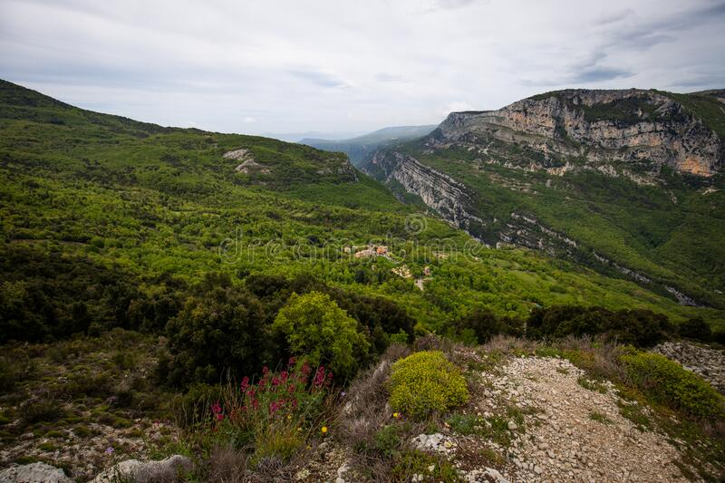 Alpes Maritimes landscape, hiking from the village of Courmes, summer time mountain view. Alpes Maritimes landscape, hiking from the village of Courmes, France royalty free stock image