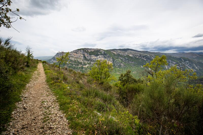 Alpes Maritimes landscape, hiking from the village of Courmes, summer time mountain view. Alpes Maritimes landscape, hiking from the village of Courmes, France stock photography