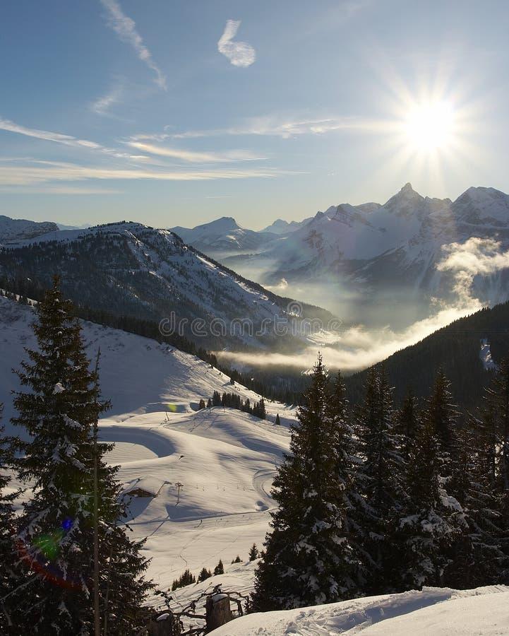Alpes Snowscape foto de stock royalty free