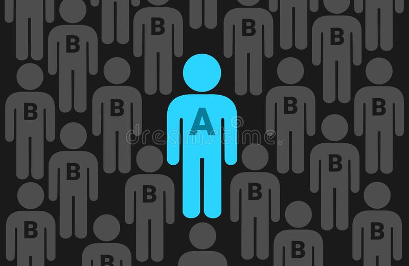 Alpha and beta male. Superior and attractive alpha male is in the center. He is surrounded by mediocre and inferior beta men - dominance of big, strong and royalty free illustration