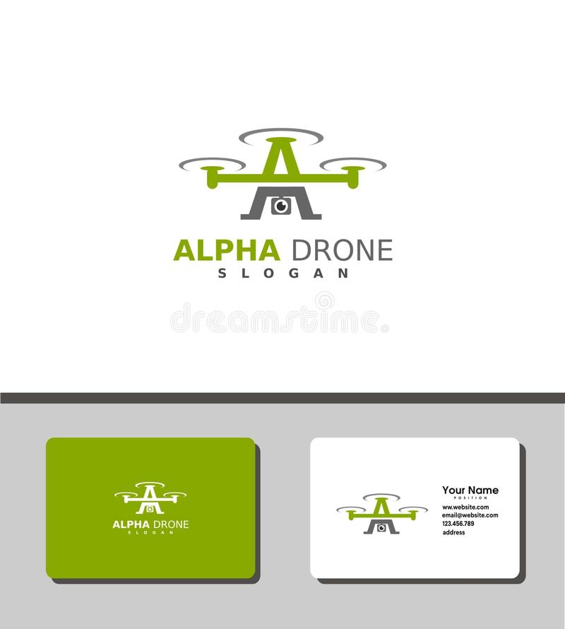 Alpha drone logo royalty free stock images
