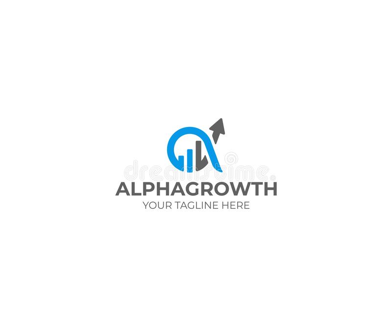 Alpha and Growth Symbol Logo Template. Graph Chart and Alfa Vector Design. Finance Illustration royalty free illustration