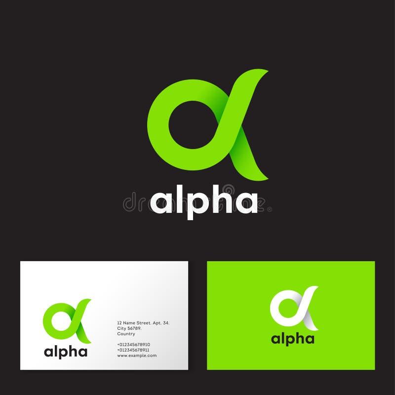 Alpha Logo. A emblem. Green Greek letter Alpha on a dark  background. Business card royalty free illustration