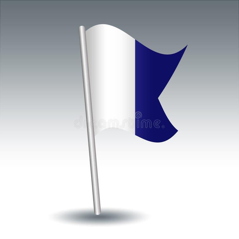 Alpha maritime du drapeau de signal de vecteur A sur le poteau incliné d'argent en métal - symbole de moi ai un plongeur vers le  illustration libre de droits