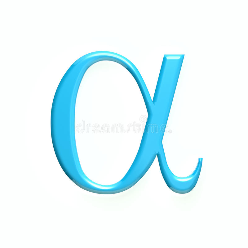Alpha Mathematical Symbol illustration du rendu 3d illustration libre de droits