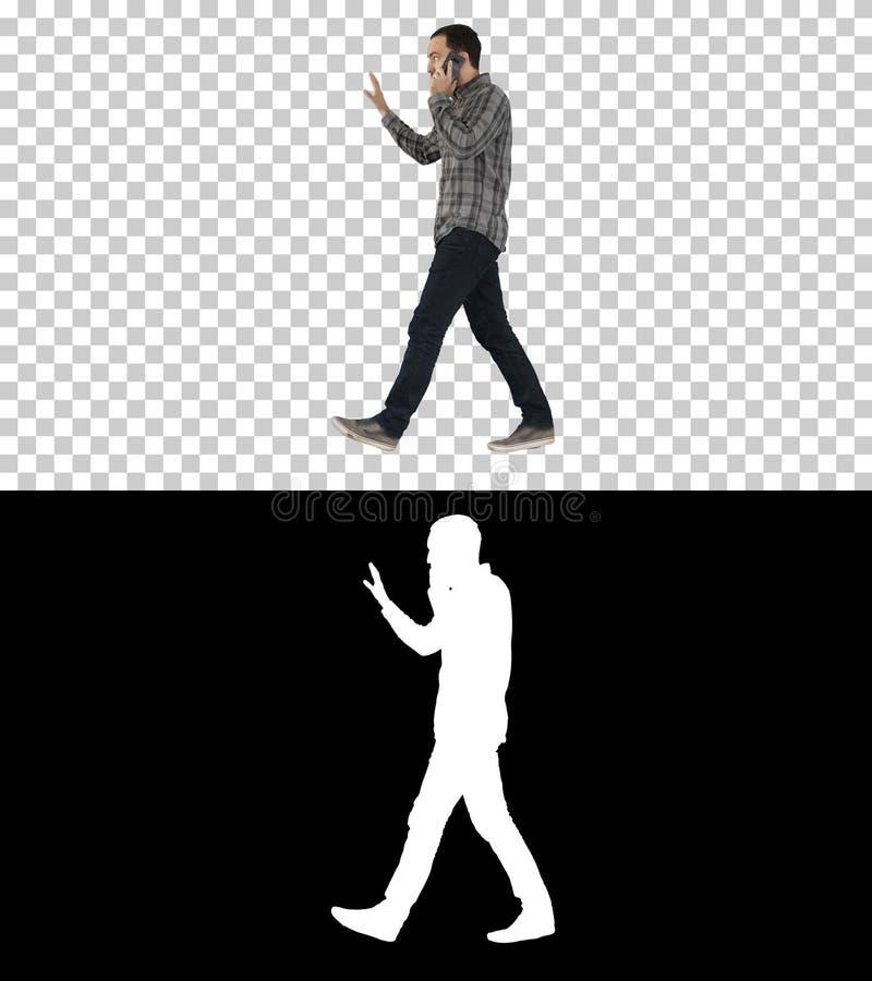 Man talking on phone, walking and making gestures, Alpha Channel. On Alpha Matte. Full length portrait side view. Man talking on phone, walking and making stock illustration