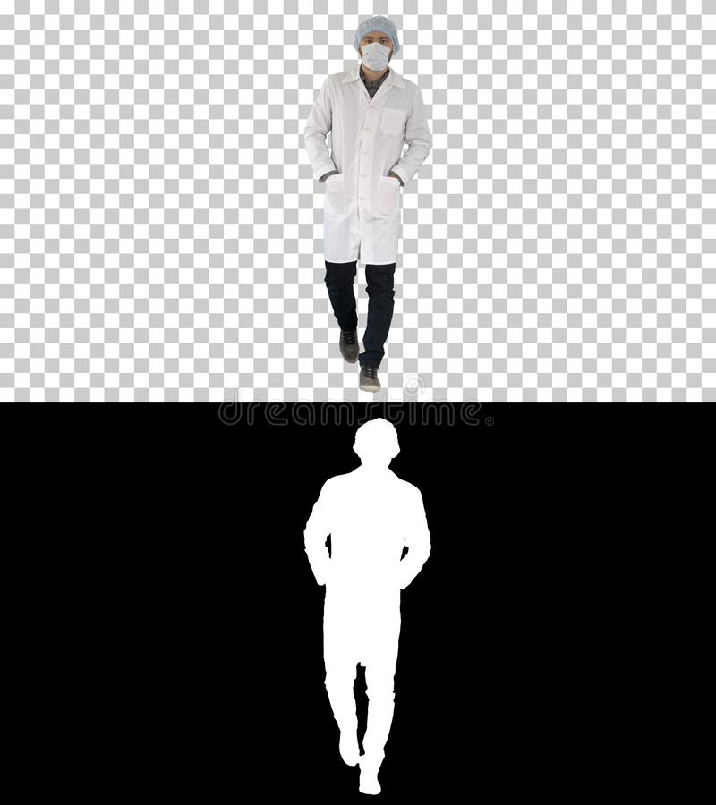 Walking young male doctor wearing surgical mask, Alpha Channel royalty free stock images