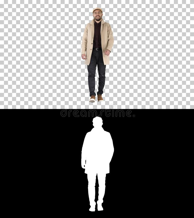 Handsome man in fashionable clothes walking and smiling, Alpha Channel stock photos