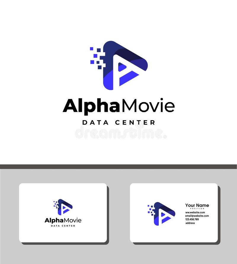 Alpha movie logo. Alpha movie logo perfect for broadcasting, entertainment, phone application,  tv channel, and internet vector illustration